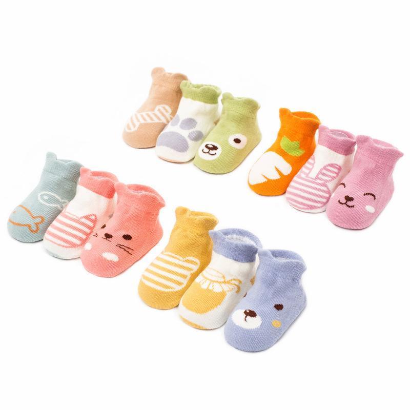 Pieza suave algodón bebé niños calcetines niños dibujos animados animal calcetín rojo niño antideslizante piso 1-3 años