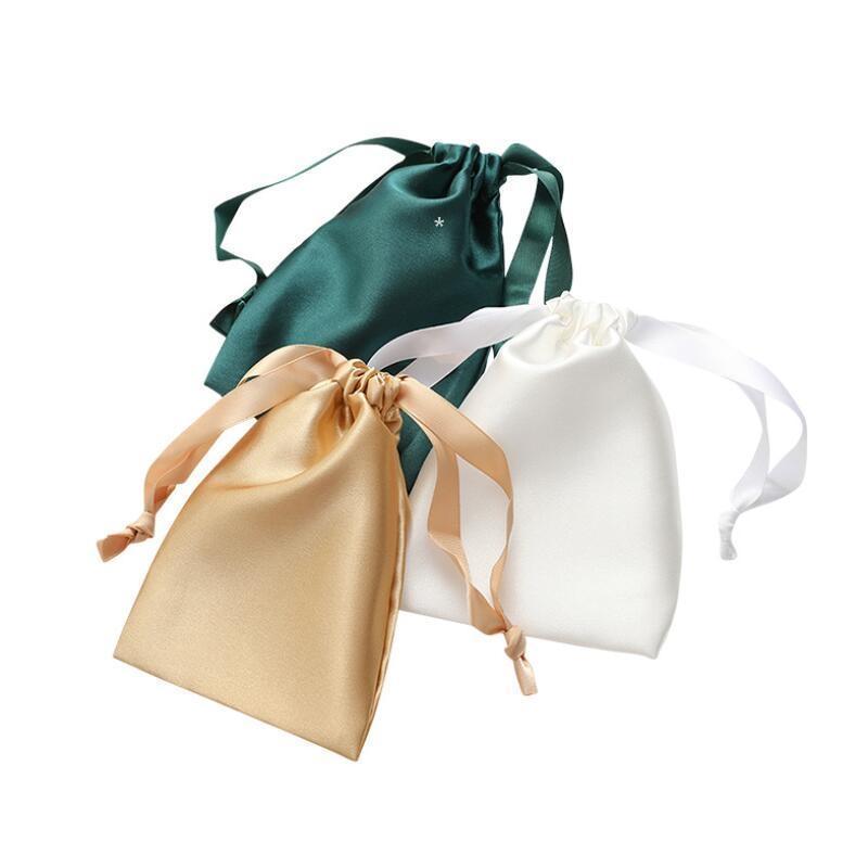 Satin Drawstring Storage Bags Silk Cloth Jewelry Packaging Eye Mask Pouches Sachet Ribbon Bag 12colors NHE5737
