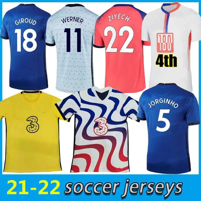 fourth 20 21 22  chelsea home soccer jerseys  120th WERNER HAVERTZ CHILWELL ZIYECH jersey 2021 2022 PULISIC Football Shirt KANTE MOUNT 4th Men