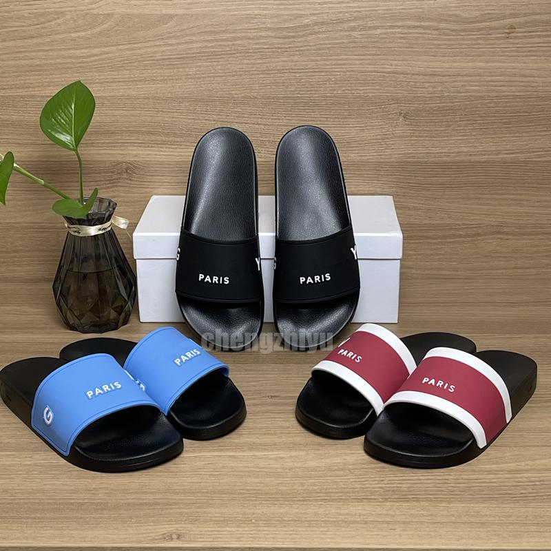 Top Qualität Herren Womens Sommer Gummi Hausschuhe Sandalen Strand Slide Mode Raster Dreidimensionale Schriftart Indoor Schuhe Größe 36-46 mit Box