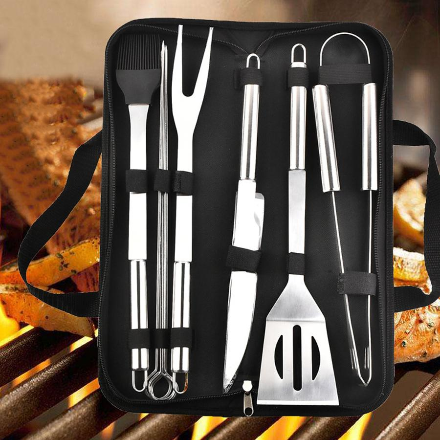 9 pçs / conjunto de aço inoxidável para churrasco ferramentas de churrasco ao ar livre utensílios de churrasco com sacos de Oxford aço inoxidável grade de clipe de clipe kit GWD7695