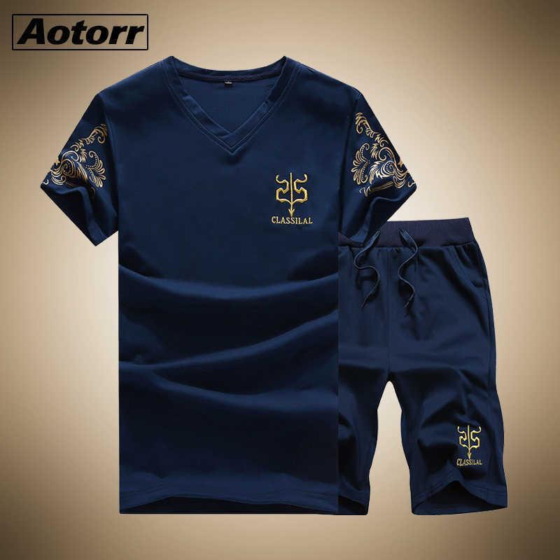 Aotorr Verano Nuevo Hombre Pantalones cortos para hombre Trajes informales Fitness Sportswear Mens Ropa Hombre Sets Sudadera masculina Ropa de marca Tallas grandes X0610