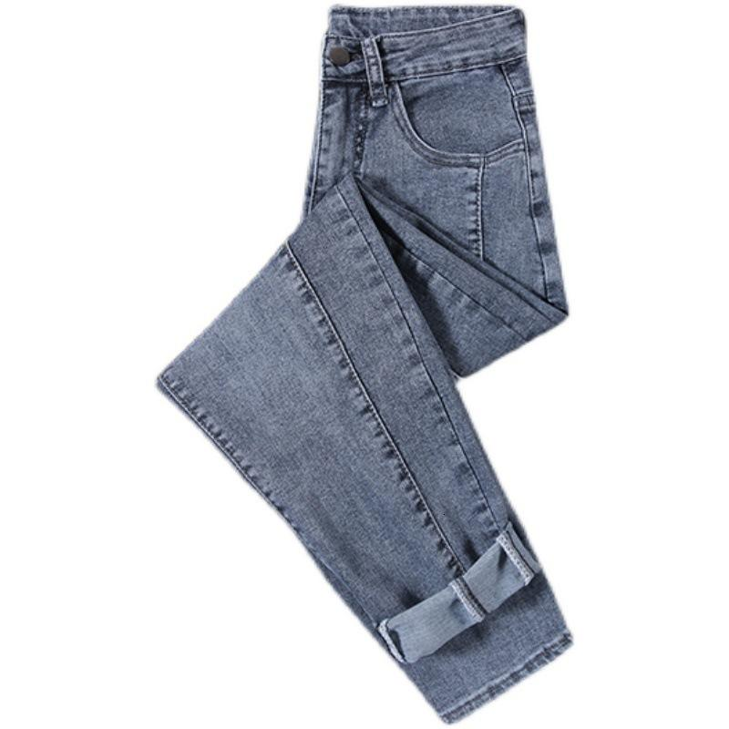 Jeans women's straight tube loose clothing 2021 spring and autumn high waist thin versatile radish father pants women