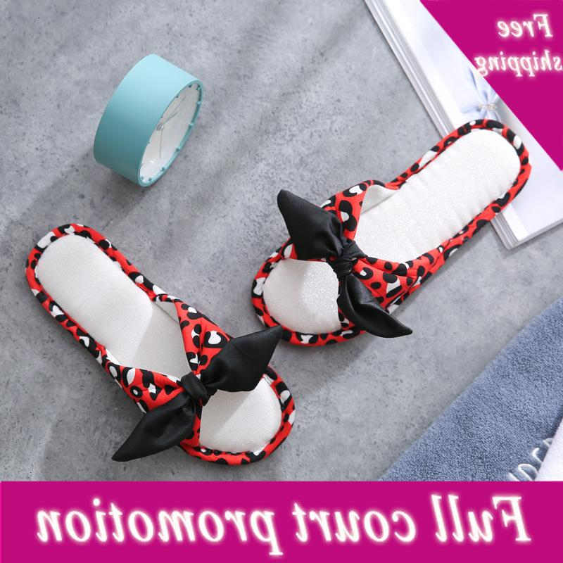 2021 spring and summer new household sandals indoor soft bottom bow cotton hemp leopard print women's slippers