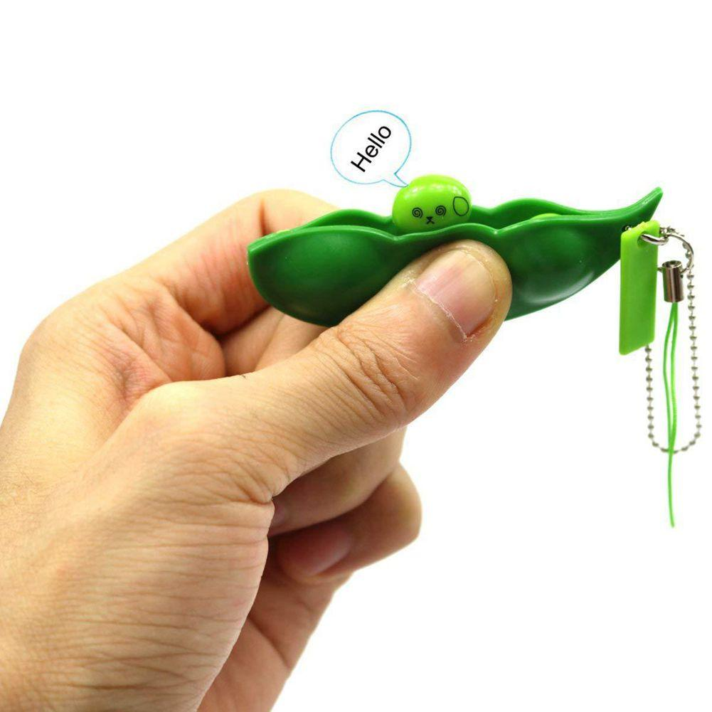 300pcs Pea Fidget Toys With Retail Package Party Favor Squeeze Straps Extrusion Decompression Bean Keychains Pean Soybean Keyring Edamame Fidget-Toy Phone Charms