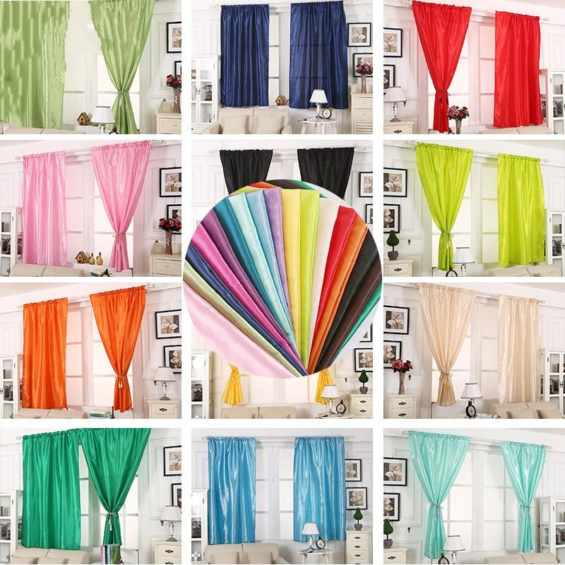 Solid Color Curtain Living Room Bedroom Decorate Silk Cloth Shading Window Curtains Wedding Home Decor Bathroom Accessories 21jx5 CY
