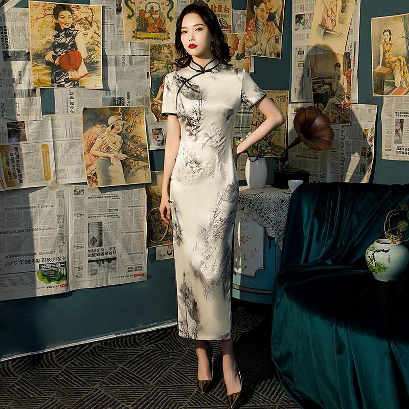 Sexy flor estampado chino mandarín collar qipao novedad vintage cheongsam mujeres de manga corta vestido de fiesta vestido de la tarde vestidos de ropa étnica