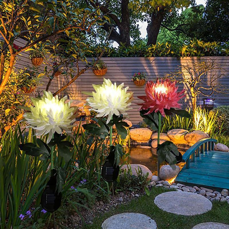 Chrysanthemum Цветы Солнечный Свет светодиодные Наружные Садовые Симуляторы Цветочные Штекерные Плагины Землей Ландшафтные лампы