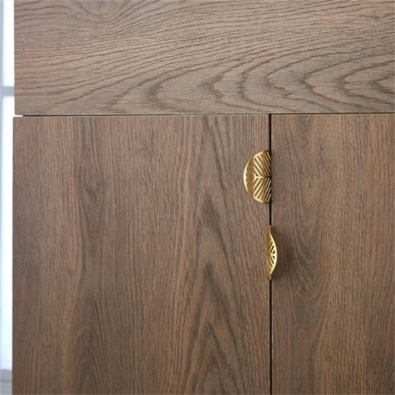 Blattform Messing Türschrank Knöpfe Antike Möbelgriffe Schublade Ziehen Küchenschrank Goldknöpfe und Griffe 603 R2