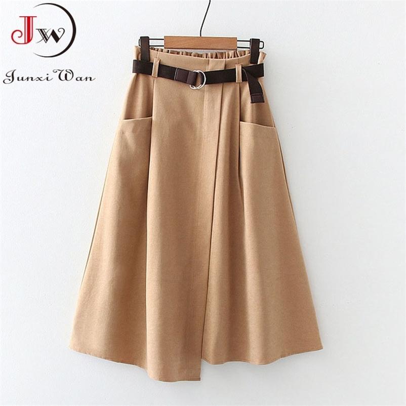 Frauen Casual Röcke Frühling und Herbst Feste Hohe Taille Unregelmäßige Taschen Midi Röcke Mode Einfache Elegante Saia Faldas 210412