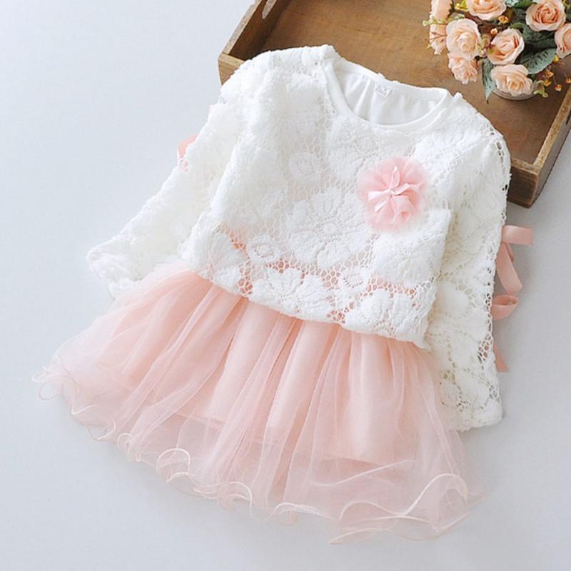 Printemps longs fleur à manches fleurs enfants enfants bébé filles dentelle dentelle dentelle + robes deux pièces princesse tutu anniversaire robe robe fille