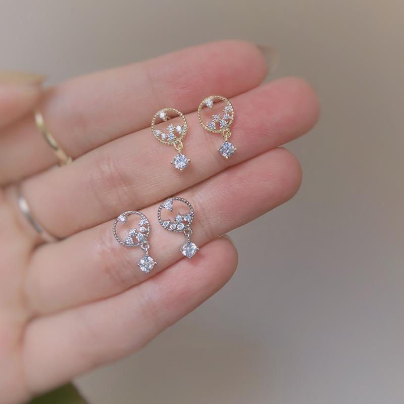 Stud Women's Fashion Hollow Circular CZ Zircon Earrings For Party Jewelry Women Girls Fine Bridal Birthday Gifts