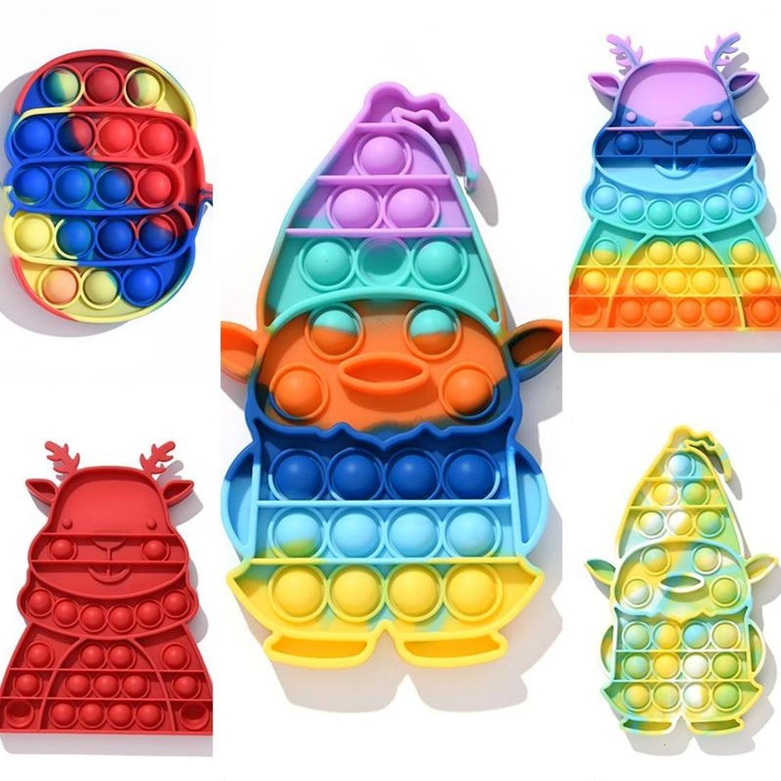 Didget игрушки детские образовательные толчок пузырь сенсорный игрушка радуга галстур-краситель стресс с рельефной игрой тревога рождественские хэллоуин тыквенная лось узор