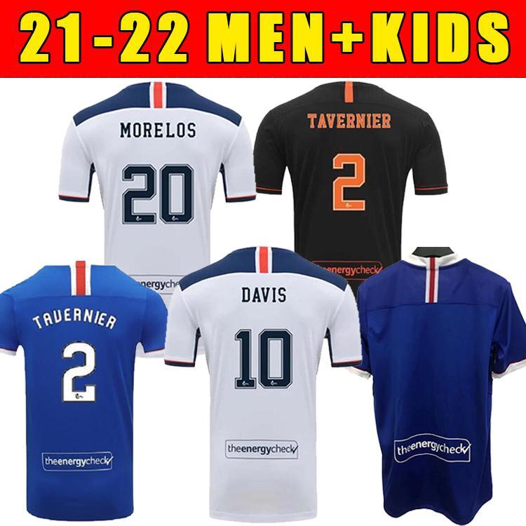 2022 Glasgow Home Terceiro Campeões Away 55 Camisetas de Futebol Defoe Hagi Morelos Tavernier 20/21 Rangers Football Shirts Adulto + Kids Kit