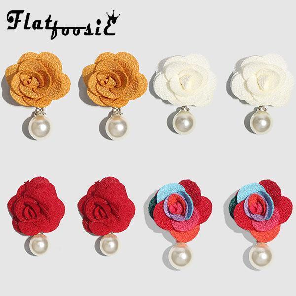 Flatfoosie 2021 Simüle İnci Çiçek Dangle Küpe Kadınlar Için Lüks Bildirimi Bohemian Düğün Parti Damla Takı Avize