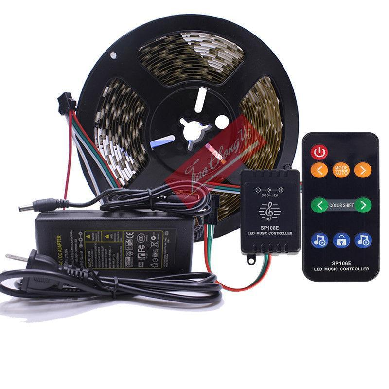5m WS2811 판매 LED 스트립 RGB 드림 컬러 12V 음악 컨트롤러 키트 스트립