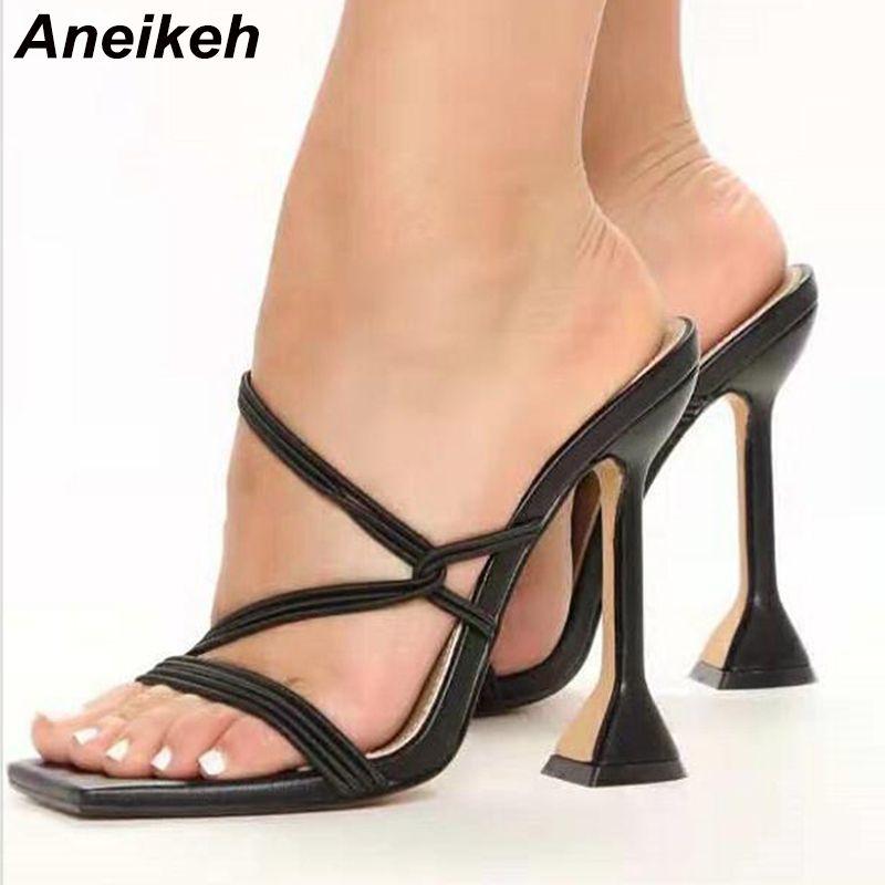 Sandales Femmes Chaussures d'été pour femmes Sandales à talons hauts Sandals Mules Style Simple Spike talons hauts Chaussons de talon Haute Talon Casual 210507