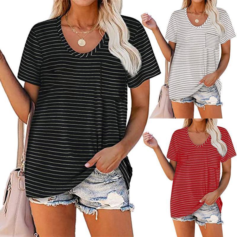 Camiseta suelta de verano de las mujeres, adultos de manga corta de manga corta rayada de manga corta camiseta para mujer