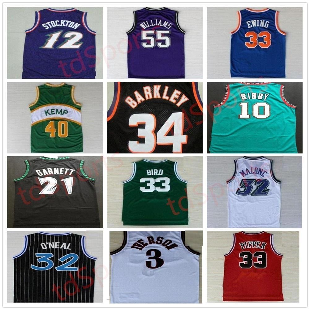 Retro Basketball Jerseys Carter McGrady Penny Hakem Stockton 32 Karl Malone 33 Hill Ason West Allen 3 Iverson Mike Bibby Kevin Garnett Vintage