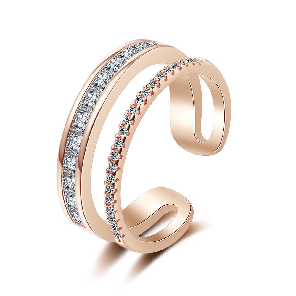 VC-53 S925 Sterling Silver Double-Layer Zircon Rings Female Small Fresh Adjustable Hand Jewelry Geometric Birthday Party Jewellry Gifts