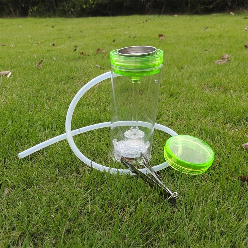 Taşınabilir Nargile Set Akrilik Nargile Shisha Chicha Narguile Akrilik Plastik Sigara Su Boruları LED Çakmak Cam Sigara Oil Rig 278 V2