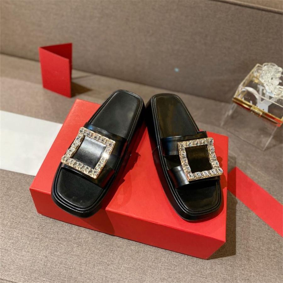 Couro artesanal verão chinelos slippers quadrado decoração cor fresca cor espessura sandália macio não deslizante simples marca suave design feminino sapatos