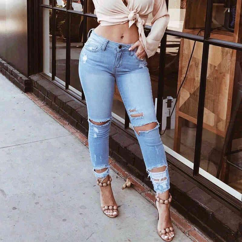 Женские женщины хлопчатобумажные высокие талии эластичные на молнии карандаш брюки растягивают тощие брюки отверстие разорванные джинсы