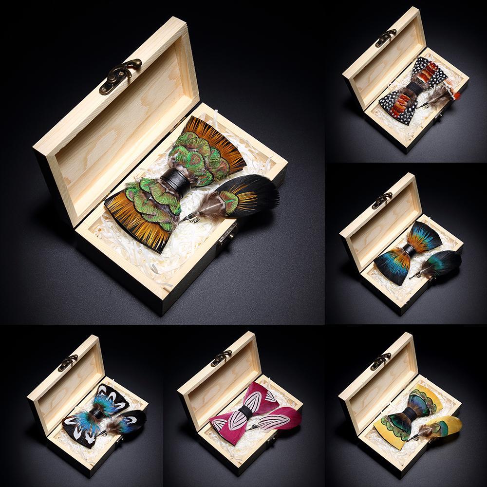 Originale Design Bow Tie Fiume Bow Squisito Handmade Mens Bow Tie Spilla Pin Set di regali in legno Set di nozze festa