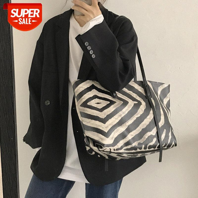 [in stock]Black and white striped bag female 2020 new trendy net red tote college student class shoulder large-capacity #Zk63