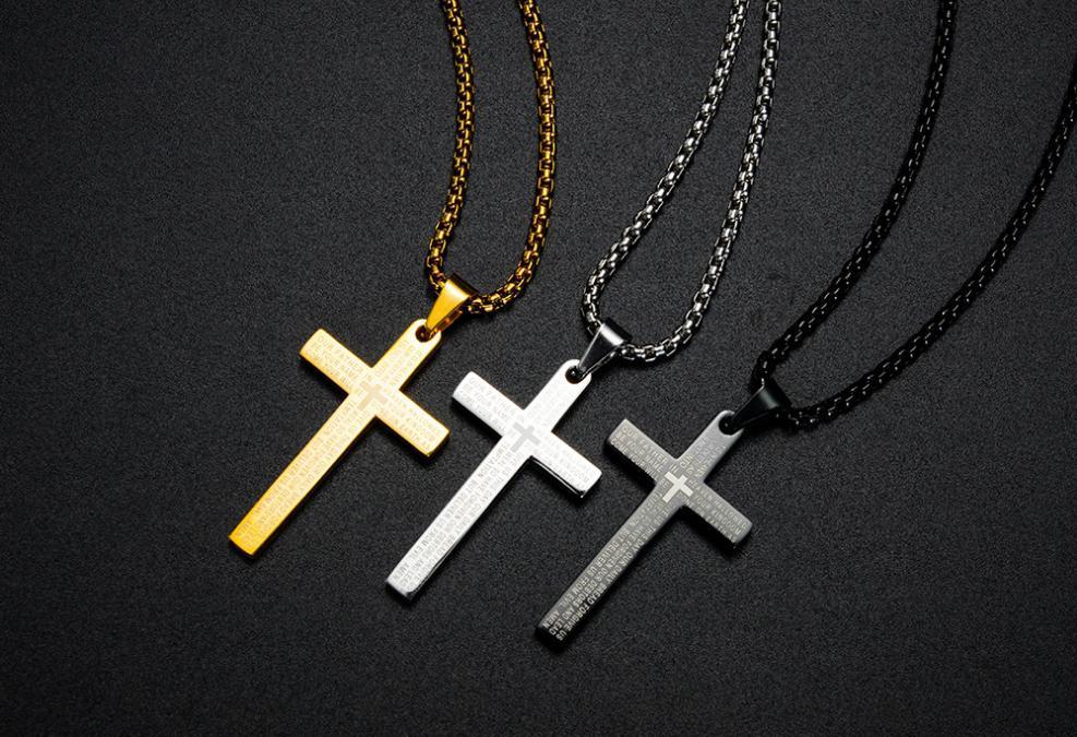 Pendant Necklaces Accessories Cross Scripture Titanium Steel Necklace Punk Hip Hop Rock Style