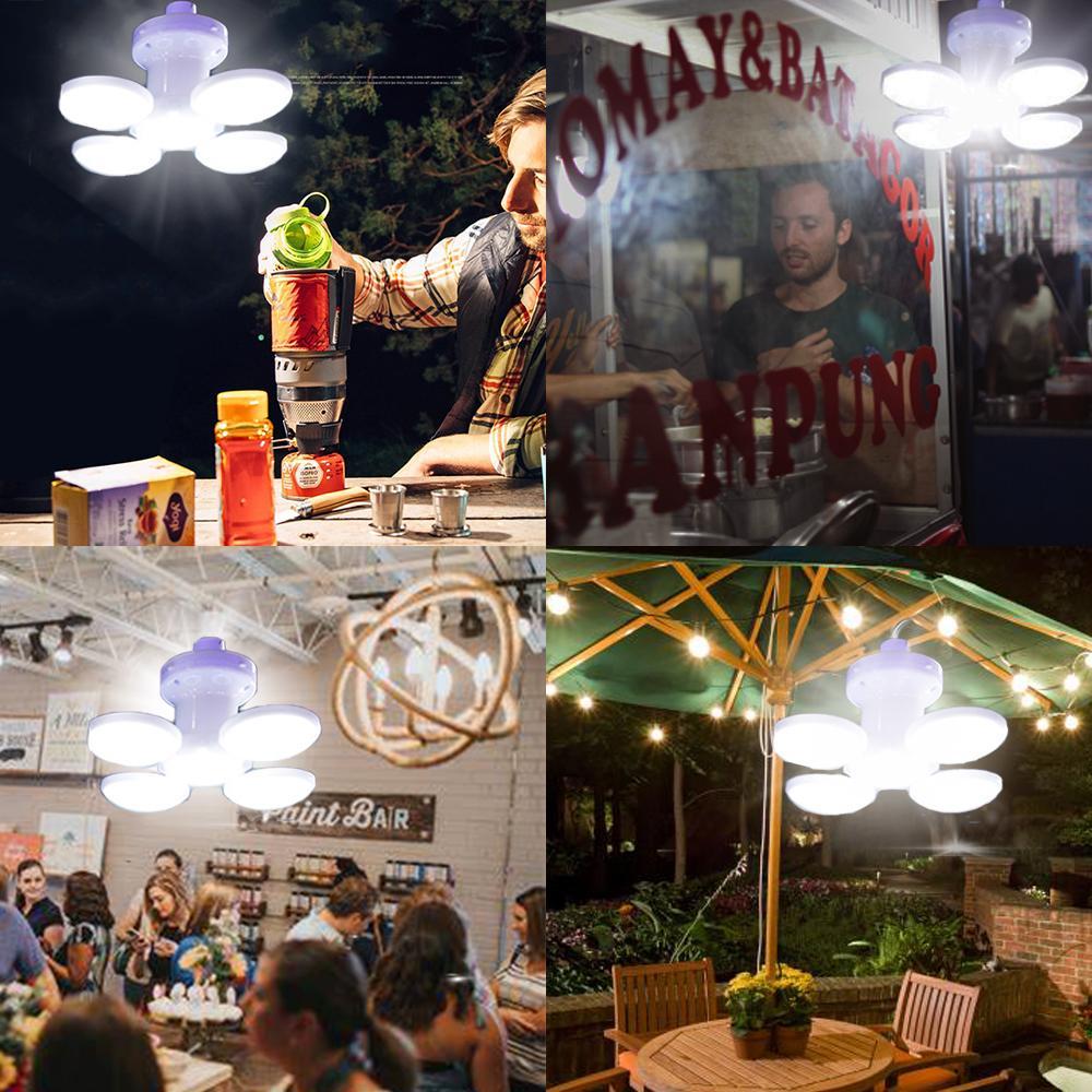 Recarregável LED Camping Lanterna Tenda Dobrável Luz Portátil Night Night Mercado Solar Luz Solar Cobra Lâmpada UFO para Jardim