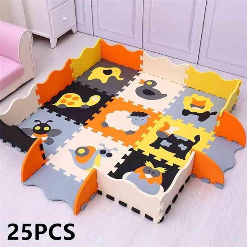 25 stücke Kindermatte EVA Schaum Kriechende Teppich Weiche Boden Matte Puzzle Baby Spielmatte Innenboden Entwickeln Spielmat mit Zaun 210402