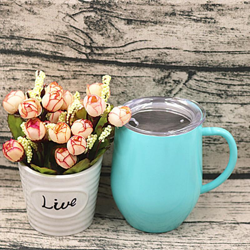 Stainless Steel Coffee Cup With Lid Handle Egg Cups Tea Mug Wine Glasses Double Layer Beer Mugs Solid Tumbler SEA SHIP KKB7831