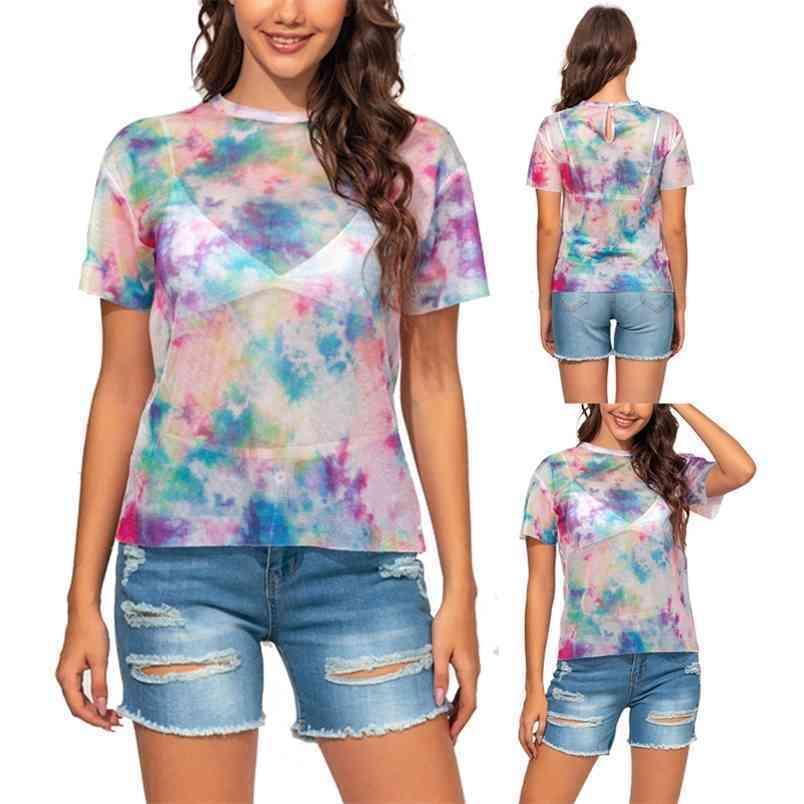 T-shirt donna Tie Dye Print Summer Casual O-Neck Manica corta Skinny Prospettiva Slim Fit Streetwear Plus Size XS-5XL 210522