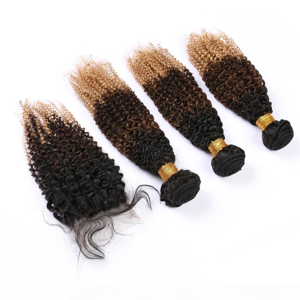 Üç ton Malezya Kinky Kıvırcık İnsan Saç # 1B 4 27 Ombre 3bundles ve Dantel Kapatma Siyah Kahverengi Ballı Sarışın Ombre Saç Örgüleri