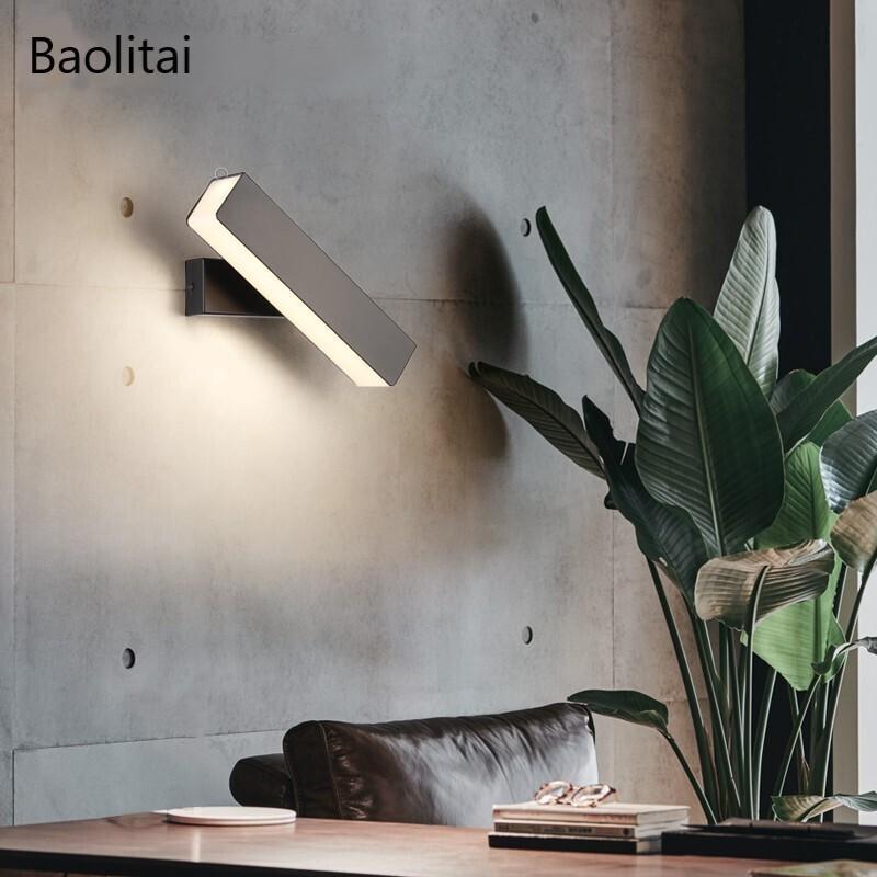 350 ° 회전 LED 벽 램프 블랙 화이트 단순성 크리 에이 티브 거실 통로 노르딕 침실 침대 옆가 배경 빛