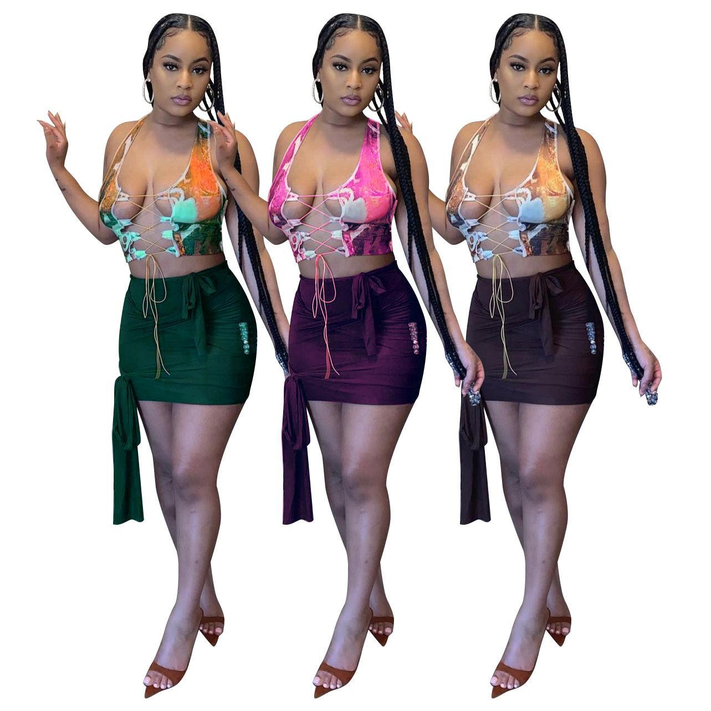 Seksi 2 Parça Elbise Eşleştirme Set Dantel Yukarı Hollow Tank Kırpma Üst Slim Fit Mini Etekler kadın Giysileri Yaz Beachwear Club Parti Kıyafetler