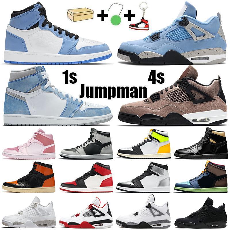 jumpman 1 erkek basketbol ayakkabıları 1s yüksek OG Koyu Mocha Volt Altın Chicago yetiştirilen 4s Ateş Kırmızısı Siyah Kedi eğitmenler spor ayakkabı bayan