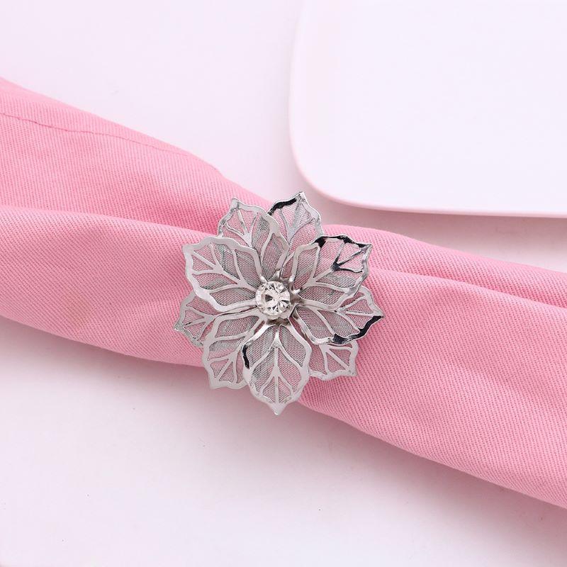 12 stücke EL Serviette Ringhalter Runde Blume Perlenschnalle Weihnachten Hochzeit Party West Dinner Tisch Ringe
