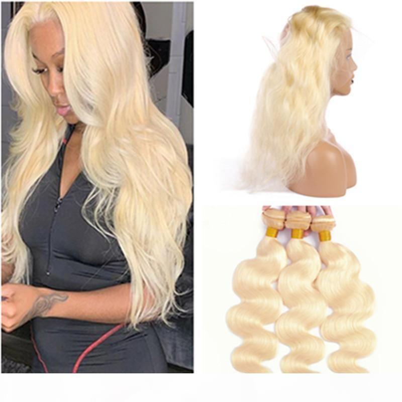 # 613 Blonde 360 Spitze Frontalverschluss mit Bündeln Körperwelle Bleichmittel Blondine Brasilianische Haare Gewebt 3bundles mit 360 Verschluss 22.5x4x2