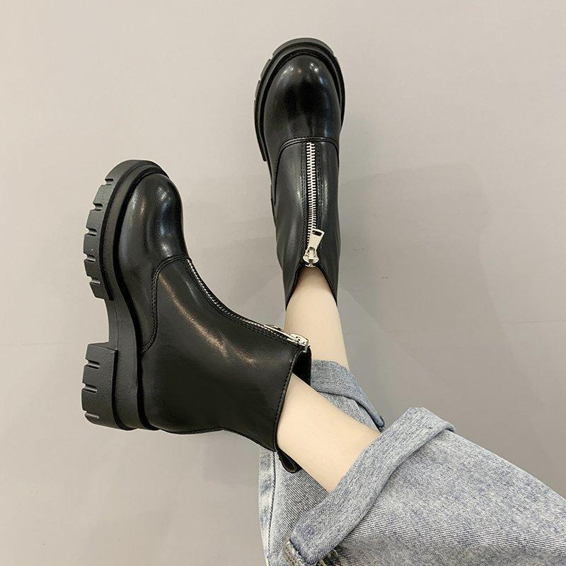 Lady Boots Booties Woman 2021 Low Heel Women's Rubber Shoes Rain Luxury Designer Boots-women Round Toe Ladies Lolita