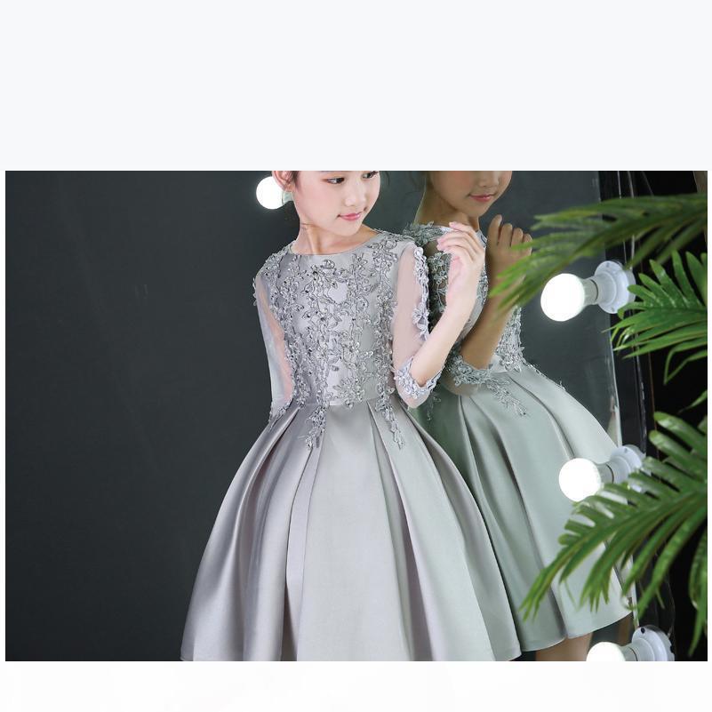 Gümüş Gelinlik Satış Çiçek Kız Için Uygun Kız Elbise Çocuk Işlemeli Elbise Kız Parti Giyim Batı Elbise Boncuklu Gelinlik Modelleri