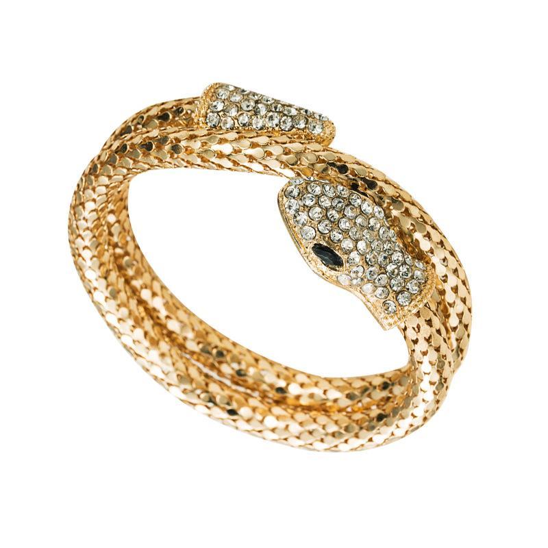 Punk Gold Color Snake Bangle Retro Clube Espiral Bracelete Armário De Armeta De Armeta Bragles Jóias Presentes