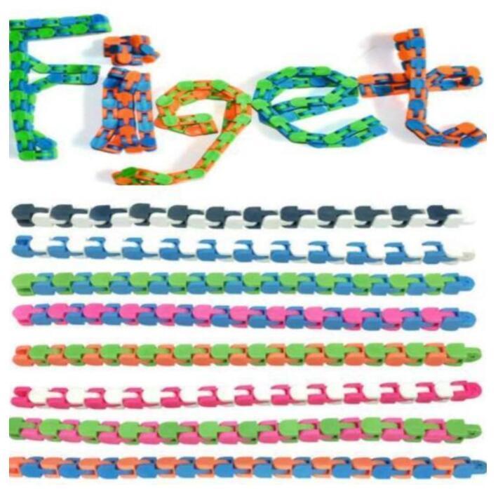 10pcs Multicolor Wacky Tracks Snap e fai clic su Giocattoli Fidget Giocattoli per bambini Autismo Snake Puzzle Giocattoli sensoriali classici