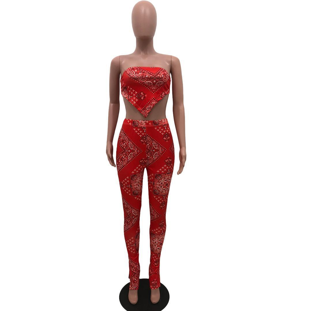 Sexy Club Outfits Bandanna Print Trainingsanzüge Bauchband Crop Top Bleistifthosen Zwei Teile Festival Frauen Setzt Kleidung ohne Maske 2XL