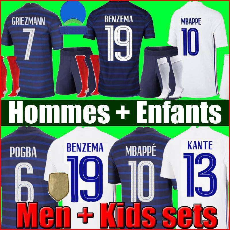 Maillots de Football 2021 تايلاند بنزيما 20 21 كرة القدم جيرسي mbappe grizmann pogba kante mailleot القدم فارغا كومان pavard كيت الأعلى قميص hommes enfants الرجال + أطفال