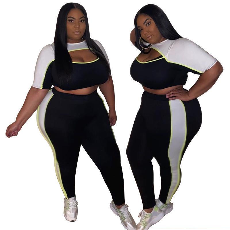 Casual kleider frauen sommer plus größe hosen set crop top t shirt + bleistift anzug weibliche 2 stück outfits aushöhlen sexy zwei sätze 6USO