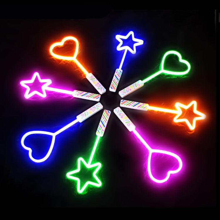 Luz LED vara tamanho grande estrela coração forma piscando vara néon luz brilho brinquedos