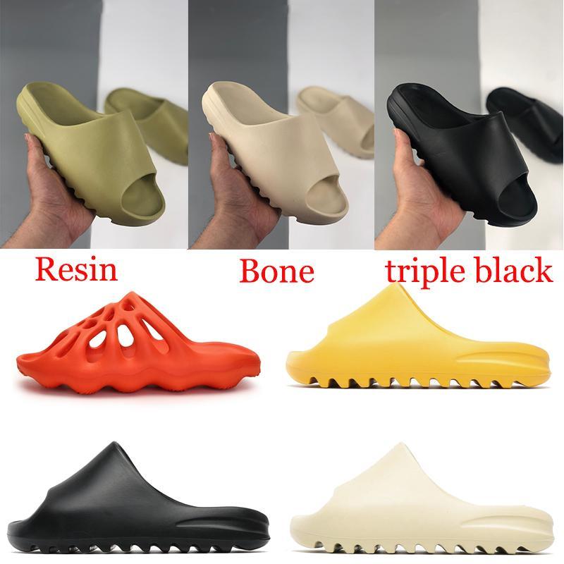 رغوة عداء صندل شبشب الثلاثي أسود أبيض العظام الراتنج الصحراء الرمال الرجال النساء أزياء الشرائح الصنادل أحذية الولايات المتحدة 5-11 manebasketballshoes