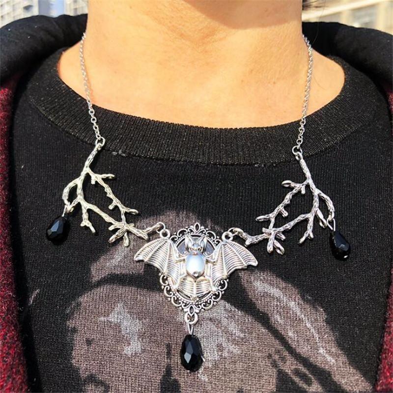 السحر الخفافيش الفروع سلسلة قلادة للنساء فاسق مجوهرات الأزياء الإكسسوارات خمر سبيكة هدية سلاسل الرقبة